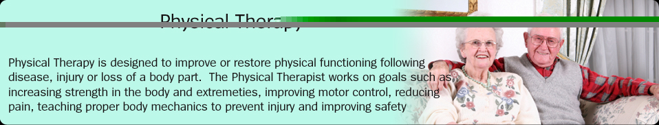 Physical Therapy:  Physical Therapy is designed to improve or restore physical functioning following disease, injury or loss of a body part.  The Physical Therapist works on goals such as increasing strength in the body and extremeties, improving motor control, reducing pain, teaching proper body mechanics to prevent injury and improving safety awareness.
